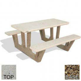 Rectangular Concrete Picnic Table - 38