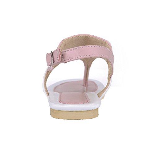 PU Toe Sandals Solid Split Womens AalarDom Pink Low Heels qBHxOC