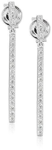 "Crislu ""Geometric"" Sterling Platinum Cubic Zirconia Earrings"