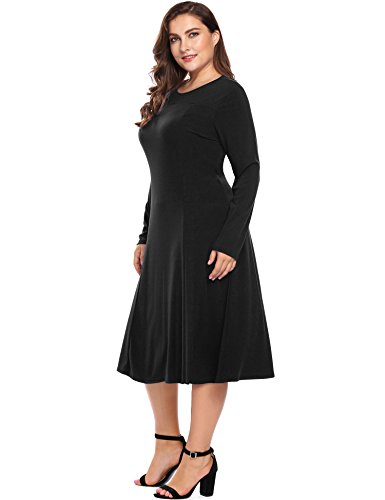 Plus Size Women's Long Sleeve A-Line and Flare Midi Dress -Long Party Wedding Dress