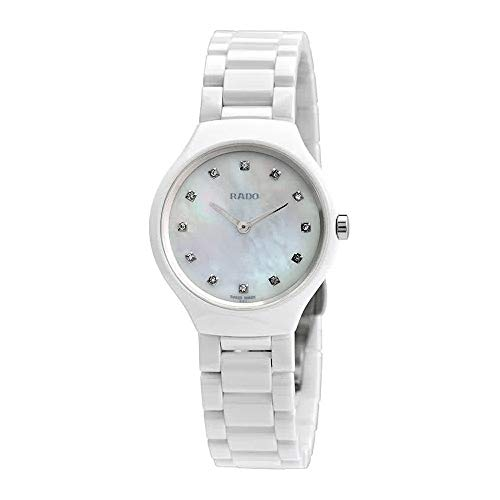Rado True Thinline Mother of Pearl Diamond Dial Ladies Ceramic Watch R27958912