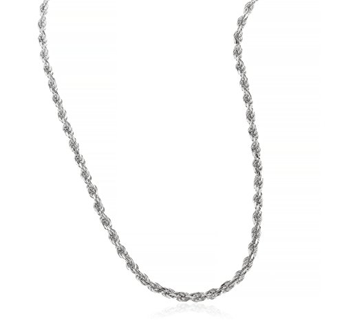 JOTW 925 Rhodium Plated Sterling Silver 3mm Rope Chain Necklace - All Lengths Avai ()