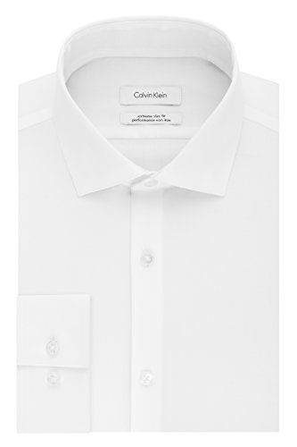 Calvin Klein Men's Dress Shirts Xtreme Slim Fit Non Iron Herringbone, White, 17.5