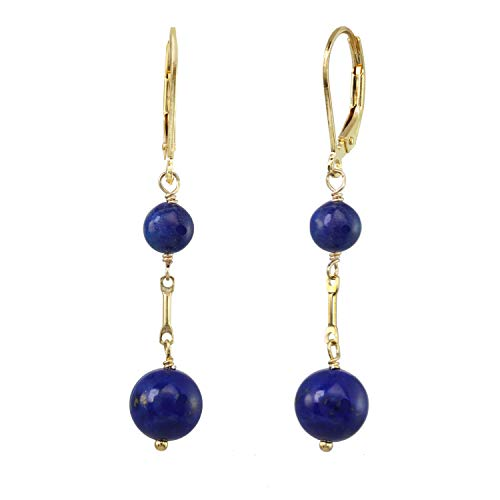 (LTC Design's Lapis Lazuli Drop Earrings with Gold Plated Silver Leverbacks)