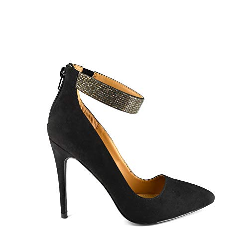 Anne Michelle Women's Black Heel Pointy-Toe Pump w Rhinestone Crystal & Thick Ankle Strap and Zipper (9)