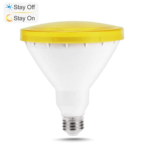 PAR38 Sensor Yellow Light Bulb, JandCase Dusk-to-Dawn LED Flood Light, 10W Recessed Lighting, 550lm, Indoor/Outdoor Bug Light for Ceiling Can, Porch, Garage, Yard, E26 Medium Base, Not Dimmable