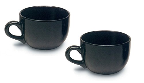Jumbo Extra Large Ceramic Coffee Mug & Soup 22 ounce, Black (Pack of 2) (Jumbo Soup Mugs Coffee)