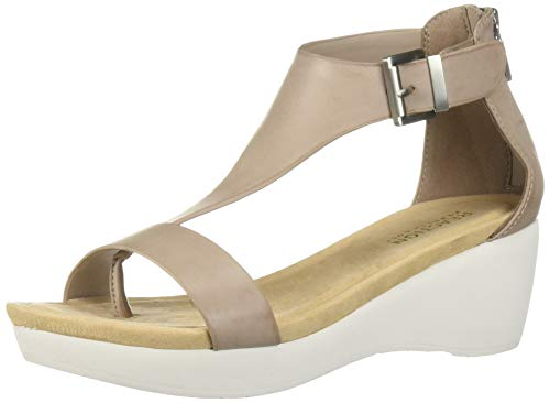 Kenneth Cole REACTION Women's New Gal Platform T-Strap Sandal Sport, Mushroom 8 M US