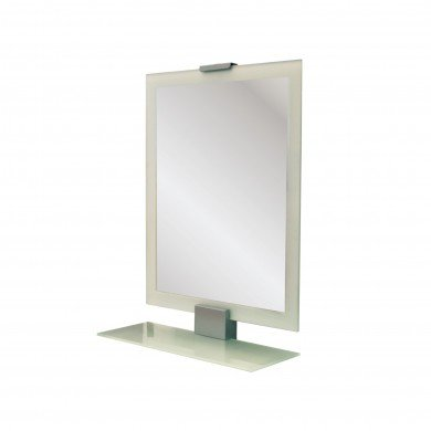 Sleek Bathroom Mirror with Space-Saving Shelf
