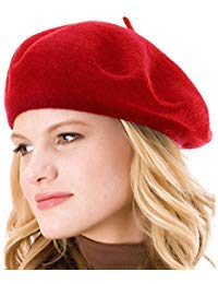 HngwoYS Womens Solid Color Wool French Beanie Cap Hat Red -