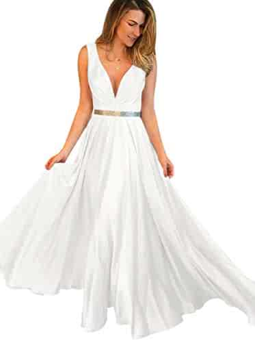 478258a08720 ElenaDressy Deep V Neck Pleats A Line Long Satin Formal Prom Dresses with  Belt