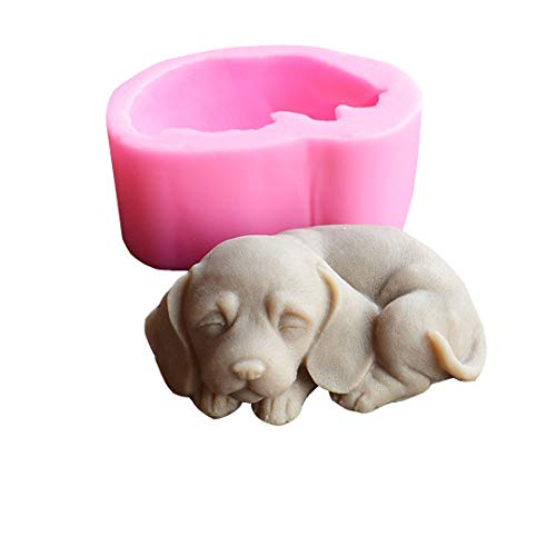 Runloo 3D Dog Silicone Candle Molds Cute Puppy Soap Molds Chocolate Cake Baking Moulds Fondant Cake Dog Molds