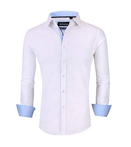 UniFashion Mens Dress Shirts Slim Fit Long Sleeve Contrast Button Down Shirt L White ()
