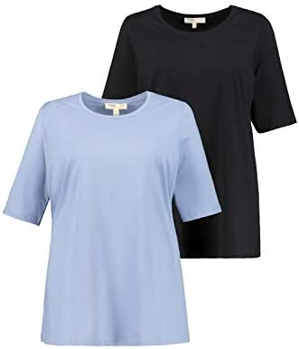 Ulla Popken 747169 koszulki damskie, duże rozmiary, 2 sztuki w opakowaniu: Ulla Popken: Odzież