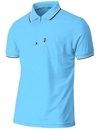 BCPOLO Mens Quarter Zip Up Polo Shirt Short Sleeves Zip Athletic Golf Polo Shirt Sky-Blue-M