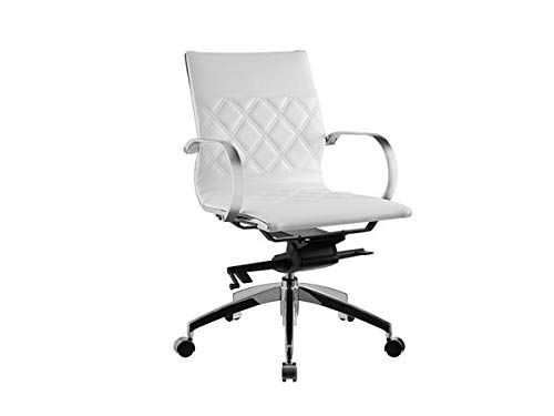 Soft White Leather Office Chair witih Criss-Cross Pattern