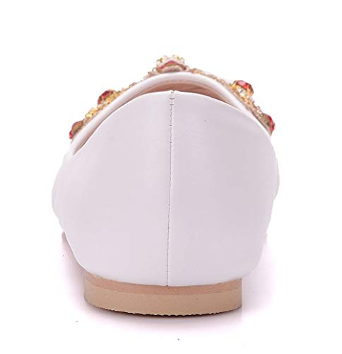 Pumps Bow Womens Novia Zapatos Rhinestones Honor Ele Satin De Dama EU43 Flower Slip Ager De On White Ballet 01G Ladies Flat qnU80t