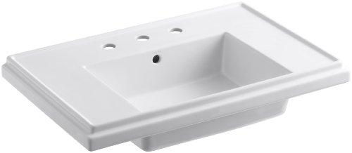 (KOHLER K-2758-8-0 Tresham 30-Inch Pedestal Bathroom Sink Basin with 8-Inch Widespread Faucet Drilling, White)