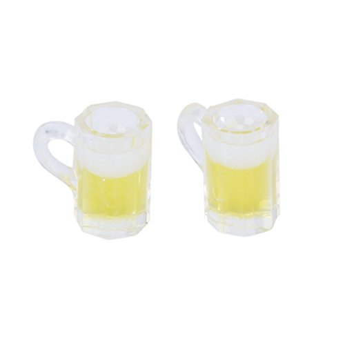 (Novelties Things 1 Pair of 1:12 Dollhouse Miniature Beer Glasses Mugs Accessories Pub Bar Accessory Glass Pint)