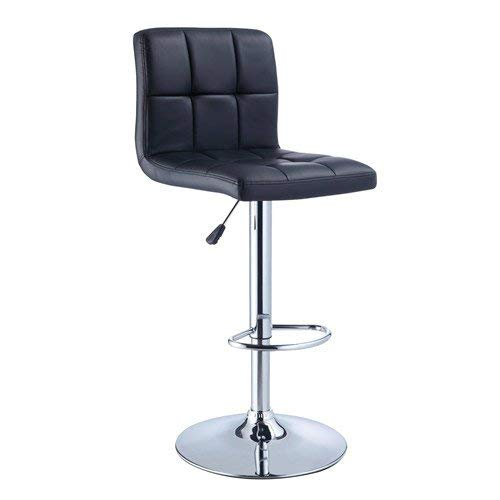 Powell Quilted Faux Leather and Chrome Adjustable Height Bar Stool, Black