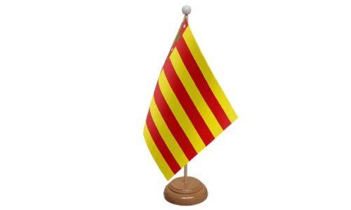 Flagmania® Valencia España Bandera de Mesa con Soporte de Madera + ...