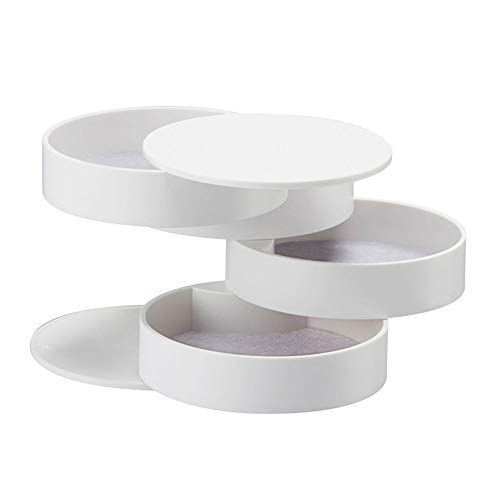 (Richohome Jewelry Box Organizer 360 Degree Rotating Display Storage Case Makeup Organizer Holder with Lid, White)