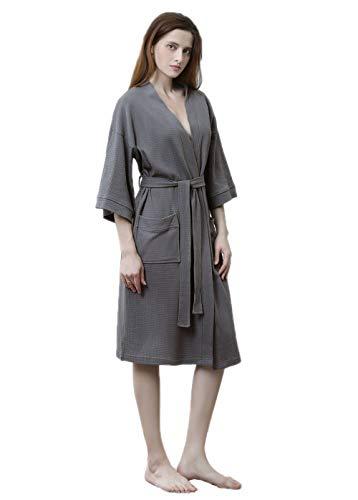 Womens Waffle Kimono Bathrobe Soft Above Knee Length Hotel Bridesmaid Spa Robe Lightweight Dressing Gown Gray ()