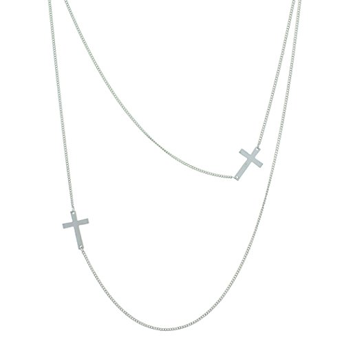 Rosemarie Collections Women's Religious Sideways Cross Double Strand Long Necklace (Silver Tone)