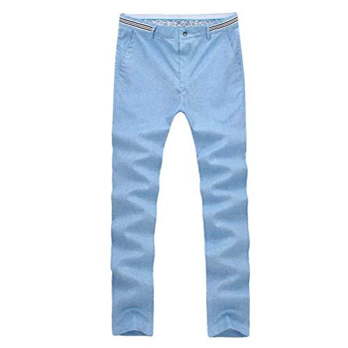 Cómodo Respirables Ocasionales Color Sólido Los De Battercake Claro Finos Rectos La Lino Pantalones Hombres Hombre Manera Adolescentes Azul zHwxwPRq