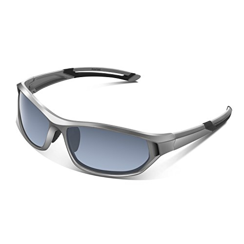 Polarized Sunglasses for Men Women Youth Sports Fishing Cycling Baseball Running Motorcycles Golf Tac lens (Silver)