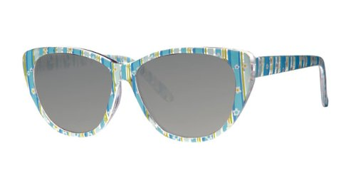 Girls, Kids, Childrens, Cats Eye, Plastic Transparent Frame, Blue Flower Print Sunglasses, Black Lens, With Free Yellow Neckcord, Full UV 400 Protection, CE Marked Eyewear World