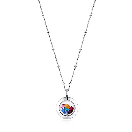 Mesinya Memorial Keepsake Floating Charm Toughened Glass Locket Pendant Necklace with Chain (20mm-Twist Closure W/Chain)