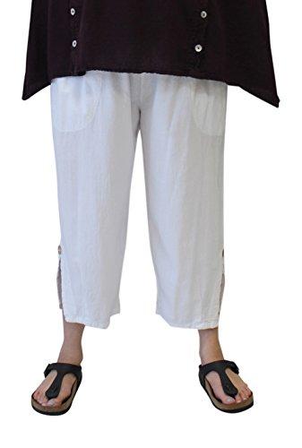 Tamar Fashions Women's Vela Cotton Gauze Crop Pant (1X, White)