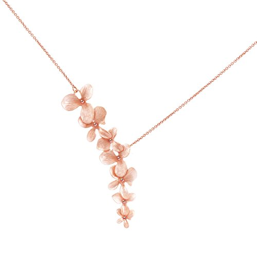 Ann Tarry 24K Rose Gold Plated Orchid Flower Necklace + Beautiful Gift Box (Rose-Gold Plated Necklace) (Plated Gold Gold Bracelet Rose)
