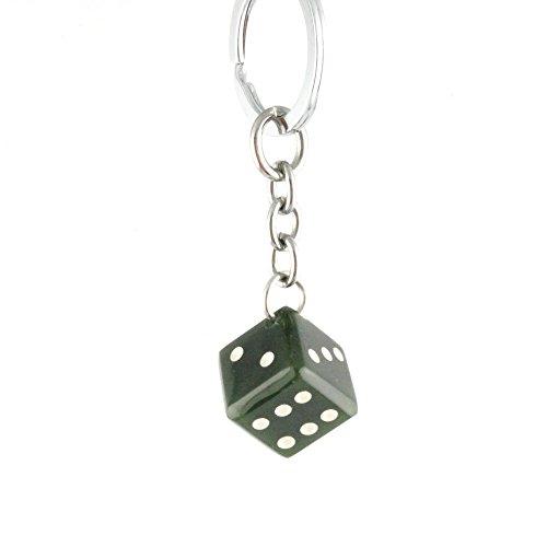 Nephrite Jade Dice Keychain.
