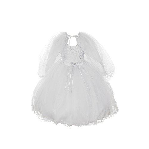 Rain Kids Baby Girls White Organza Tulle Baptism Cape Dress 6M (Jeweled Tulle Baby Dress)