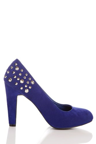 Fashion Stock Room - UK Donna Torna Stud abbellito Décolleté - Blu - Taglia  3 9d9616fad23