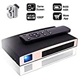Mini Projector(2018 Upgraded+80%lumens) MOTOU DLP Portable LED Projector HD 8400mAh Rechargeable Battery Supports Smart Phone Android Multimedia Outdoor for Party/Business/Home