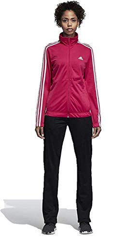 adidas Women Track Suit Back to Basics Training 3-Stripes (Large, Real Magenta/White)