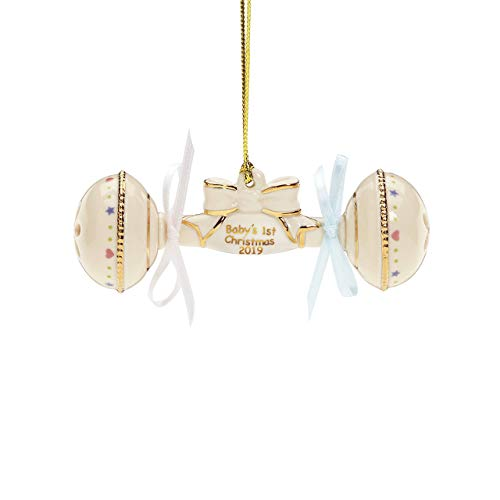 Lenox 884546 2019 Baby's 1st Christmas Rattle Ornament (Hallmark Ornament First Christmas)