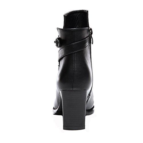 Dunhu Donne Moda Breve Stivale In Pelle Semplice Elegante Scarpa Vestito (nero / Rosso) Nero