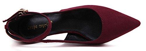 Aiguille Easemax à Moyen Fermeture Talon Vineux Basse Boucle Rouge Plateforme Elégant Femme Escarpins ttFwHqg