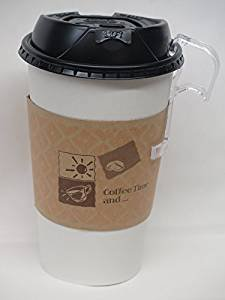 Coffee cups set 16 Oz. White Hot paper Coffee Cup With Reclosable spell free travel Lid ans sleeves - 100 set + 5 plastic clip on handles