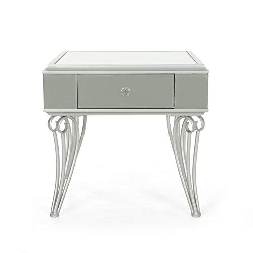 Mamie Modern Mirrored Accent Table with Drawer, Tempered Glass, Silver Iron Frame