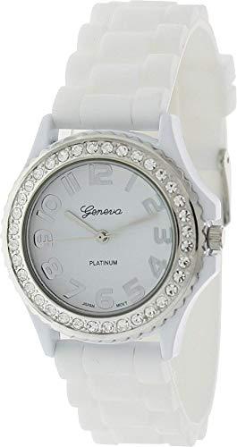 (Platinum CZ Accented Silicon Link Watch Quartz Wristwatch Watches, Large Face)