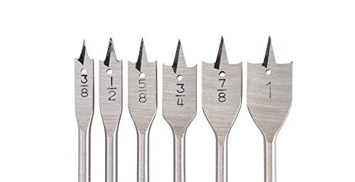 6pc Spade Drill Bit Set Paddle Wood Boring Flat Woodworking 3/8