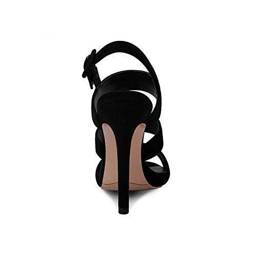 Colore JIANXIN Alti Con Sexy Sandali Di Impermeabili Donna Da In Plateau dimensioni Pesce Con E Nero 36 A Pelle Estiva Tacchi Scarpe Bocca HSqzxfwrnH