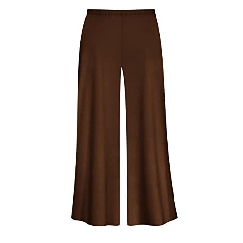 6ed868d0592 Solid Brown or Tan Slinky Wide Leg Plus Size Supersize Palazzo Pants  low-cost