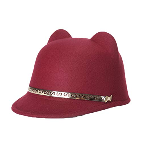Cute Cat Ear Wool Felt Fedora Hats for Women Fashion Classic Vintage Trilby Hat Jazz Cap with Gold Metal Ring