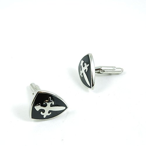 50 Pairs Cufflinks Cuff Links Fashion Mens Boys Jewelry Wedding Party Favors Gift ENF082 Cross Black Shield by Fulllove Jewelry